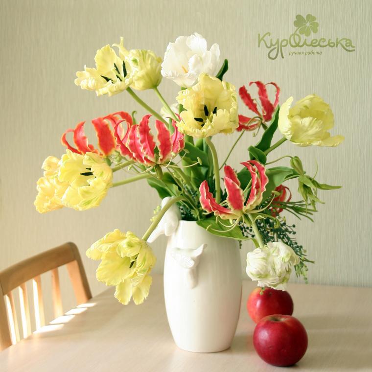 мастер класс лепка цветов, как слепить глориозу, керамическая флористика, подарок на новый год, оригинальный подарок, цветы из глины, мастер класс