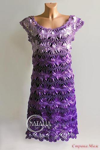 Вязание на вилке платье из