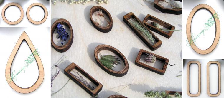 """Создаем оригинальные серьги """"Сельская Любовь"""": работаем с деревянными рамочками, сухоцветами и эпоксидной смолой - Ярмарка Масте"""