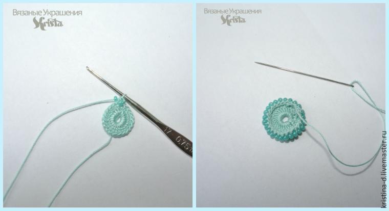 вязание с бисером, мк по вязанию сережек