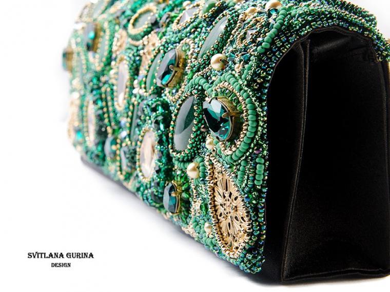 изумрудная сумочка, женские сумки, зеленый цвет, клатч с вышивкой