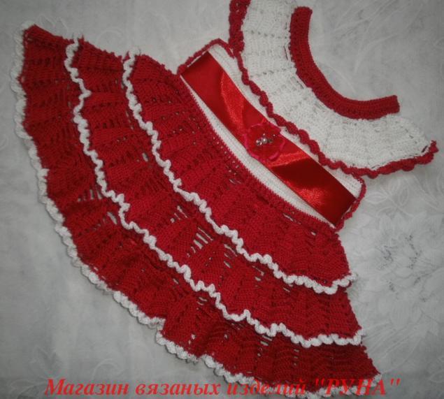 вязаное платье, атласная лента, красивое платье, алый