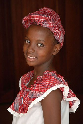 Little girl in Jamaican national costume