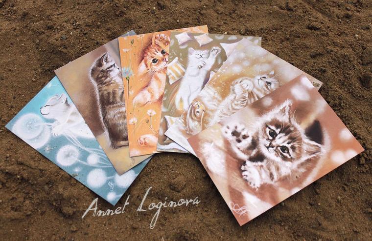 набор открыток, пастельные картины, картины пастелью
