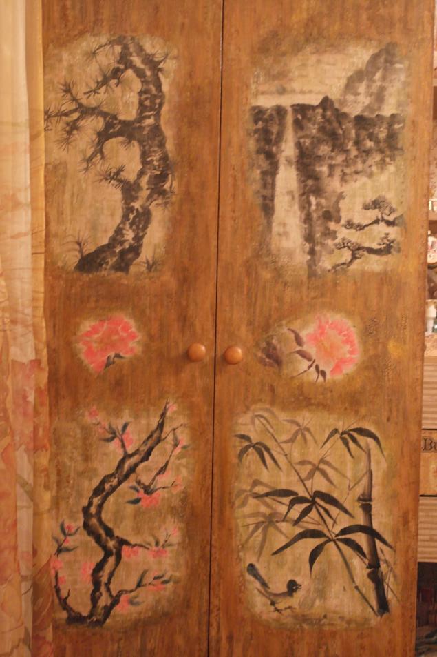 шкаф, рисовая бумага, китайский стиль, бамбук, оформление интерьера