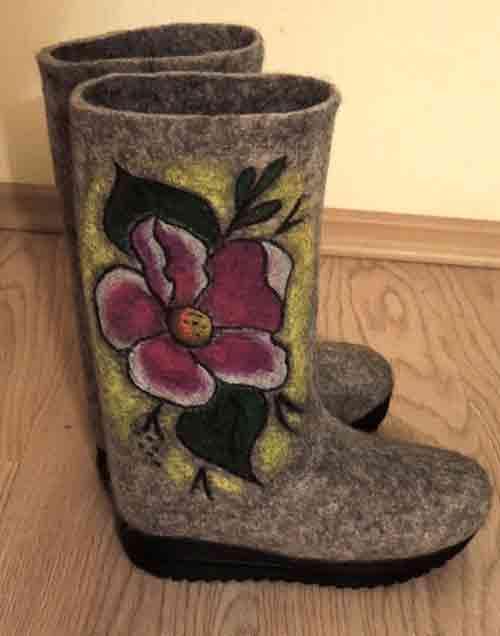 валенки с рисунком, рисунок, обувь из шерсти