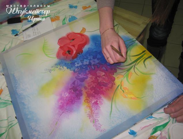 батик, батик мастер-класс, роспись по шелку, кошки, цветы