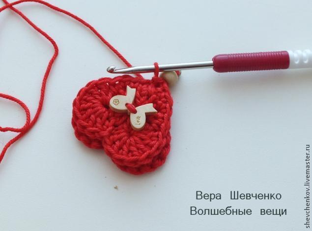 МК Вяжем сердечко - брелок (много фото), фото № 25