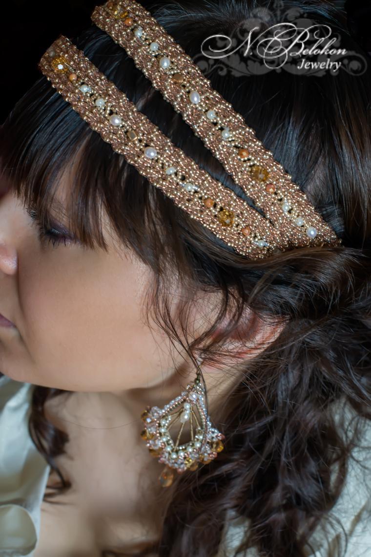 серьги, свадебные украшения, золотой