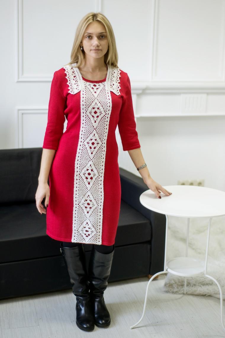 платье вязаное, аукцион сегодня, аукцион на платье, красное платье, платье с кружевом, вязаное платье, стильное платье