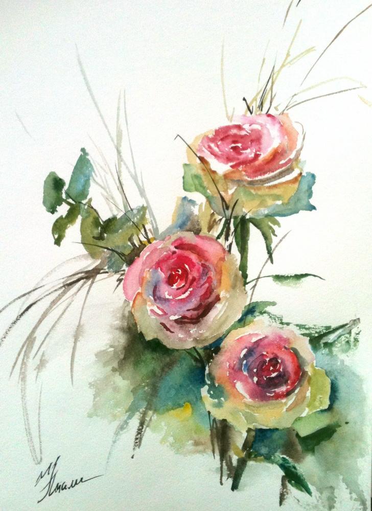 натали котова, розы, мастер-класс для новичков, живопись, акварель
