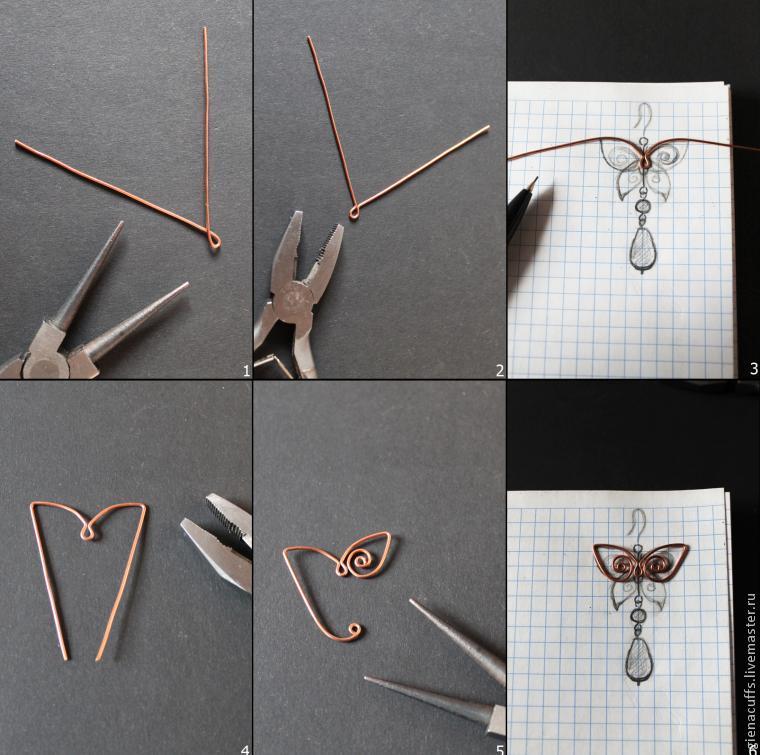 серьги с бабочками, сделать летние верьги, мастер класс сережки