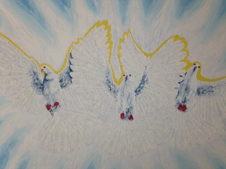 птицы, свет, защита, картина маслом, картина с птицами, картина для спальни