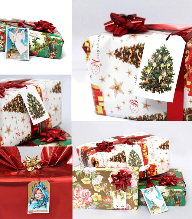 подарки к новому году, упаковка подарка, старинные открытки