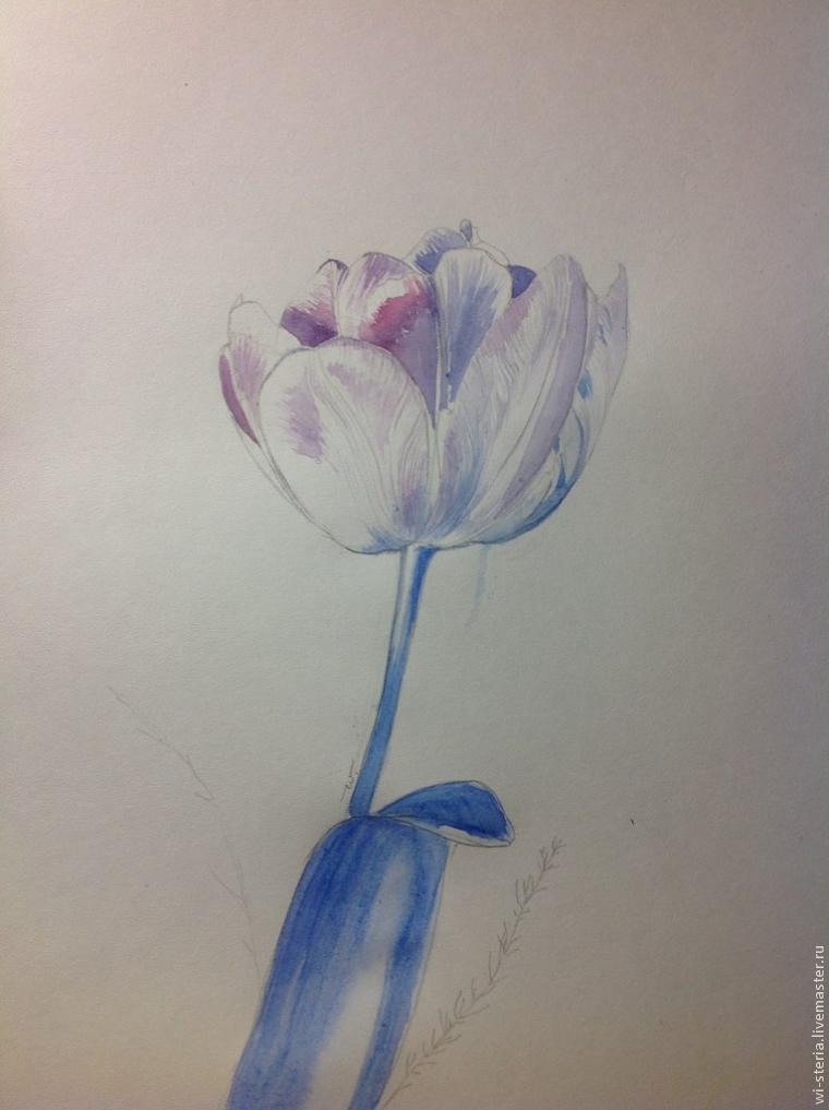 мк по живописи, зимний тюльпан