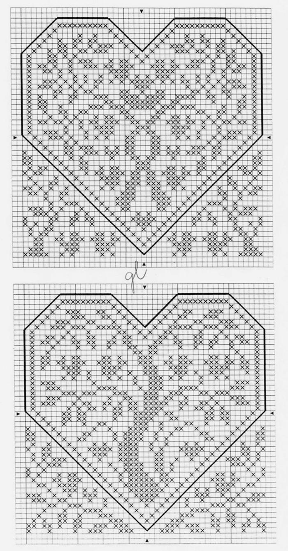 схема вышивания сердца