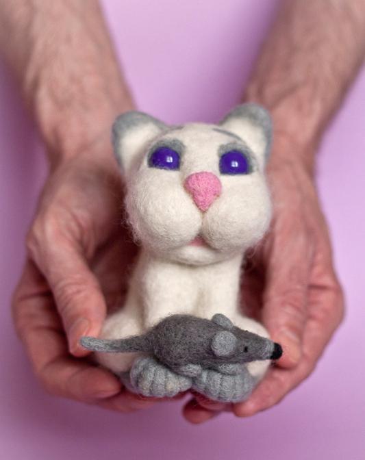 валяние, мышка, кот, кошка и мышка, подарок