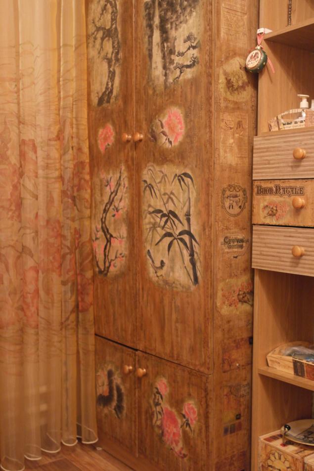декупаж, китайская живопись, цветы, интерьер