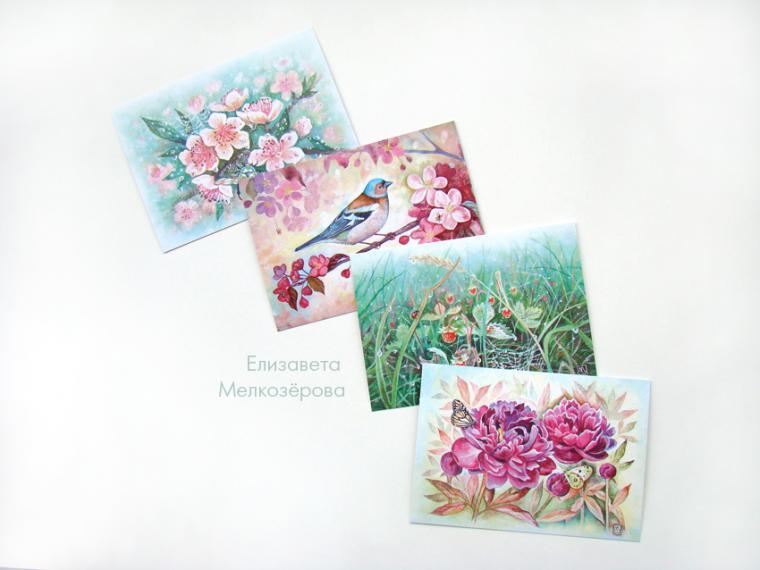 открытки, птица