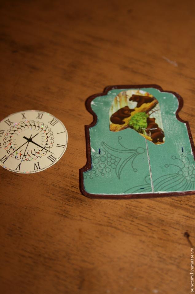 Часы-ходики из спичечного коробка в кукольный дом, фото № 8