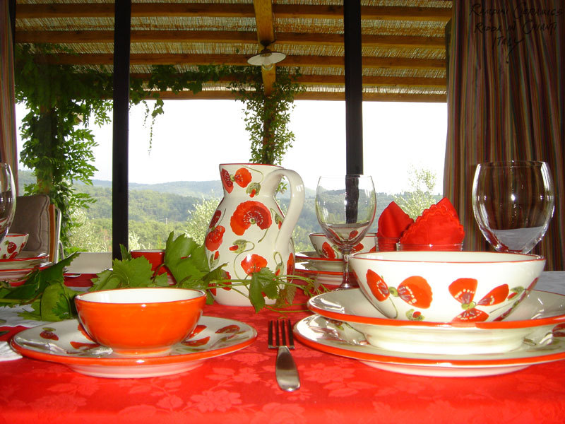 Tables set with Rampini Ceramics hand made Italian pottery for dinner, lunch, coffe or a barbecue