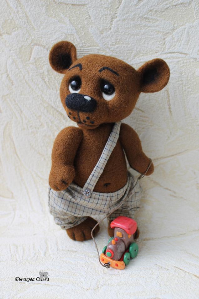 медведь, войлочный мишка