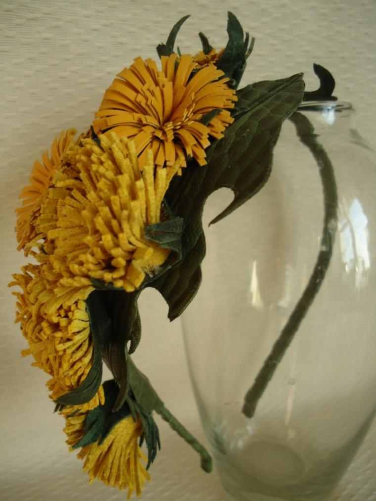 ободок с цветами, мастер-класс, авторские украшения, кожаный ободок, кожаные цветы, кожаные аксессуары