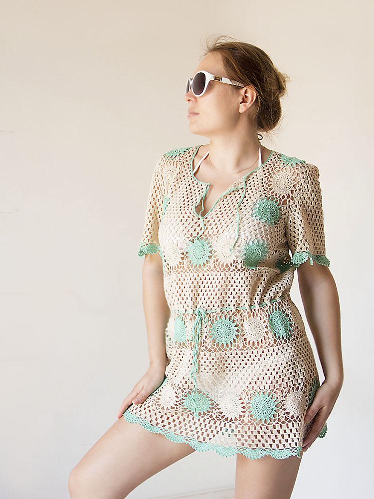 платье крючком, пляжная мода