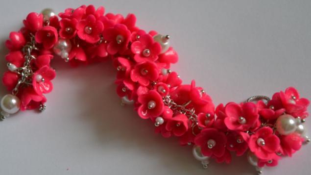 браслет, цветочки пластика