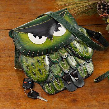 4773631506:Green Owl Leather Purse-LRG