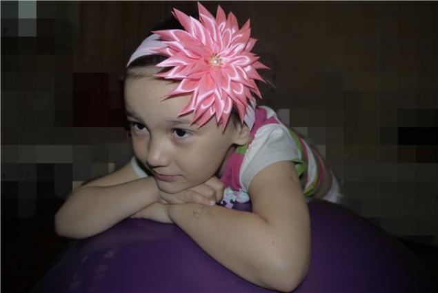 канзаши, повязка с цветком