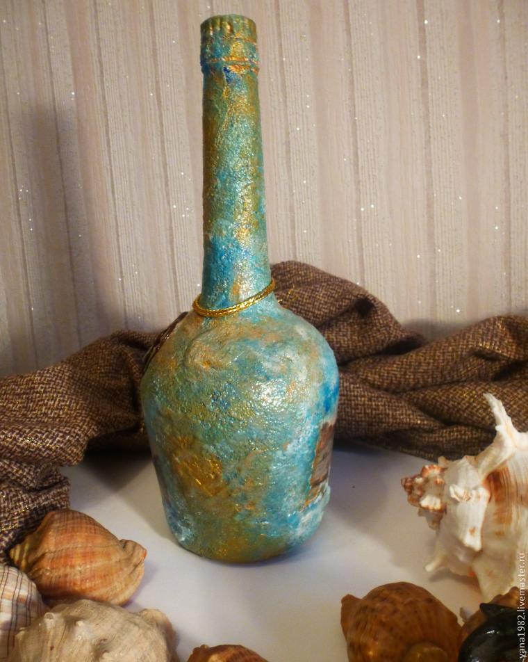 Делаем праздничную бутылочку с двусторонним декупажем, фото № 24