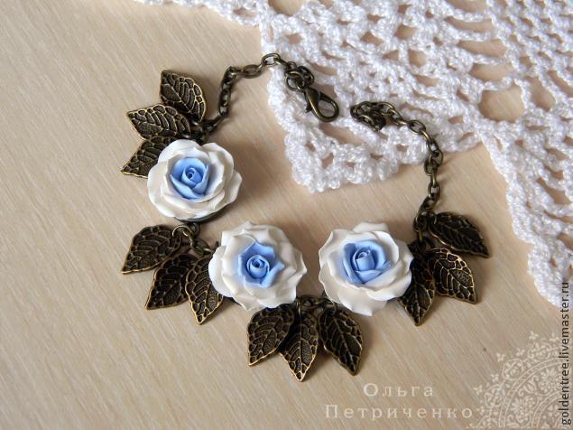 полимерная глина, браслет, браслет с подвесками, розы