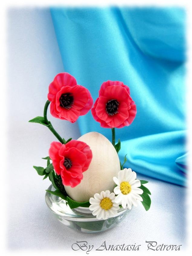 пасха, цветы из полимерной глины