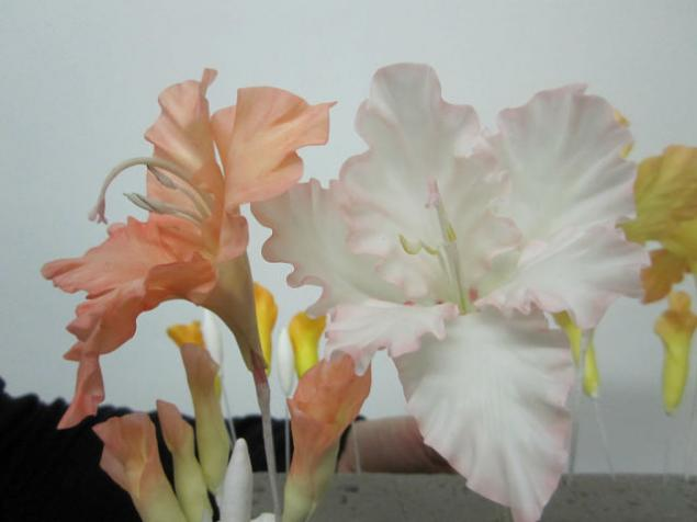 лепка цветов, гладиолус
