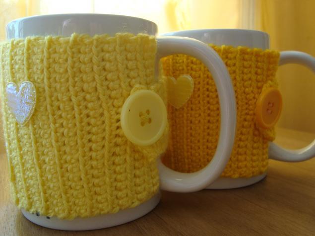 грелка на чашку, желтый чехол