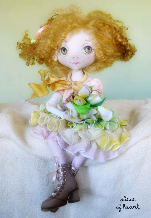 грунтованный текстиль, текстильная кукла, шарнирная кукла, весна, цветы, работа с тканью, берег ветров, светлана фадеева