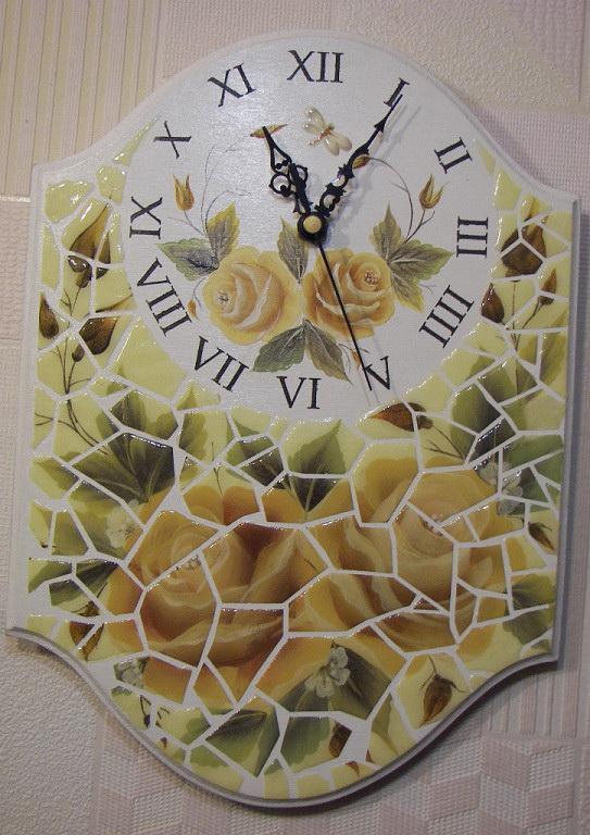 пастельные цвета, интерьерное украшение, подарок, акриловые краски, настенные часы, мозаика, двойной мазок