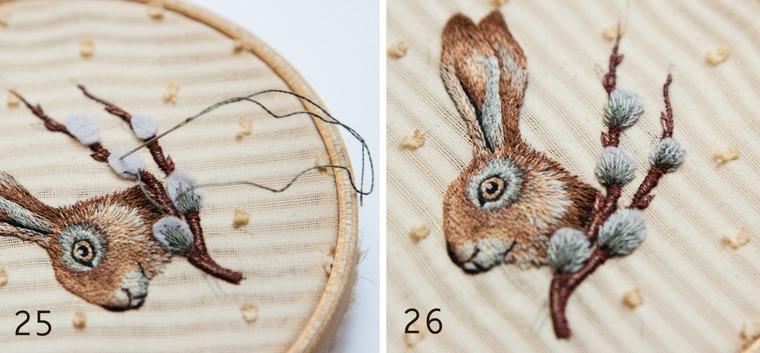 Вышитая брошка с пасхальным зайкой и веточкой вербы, фото № 13