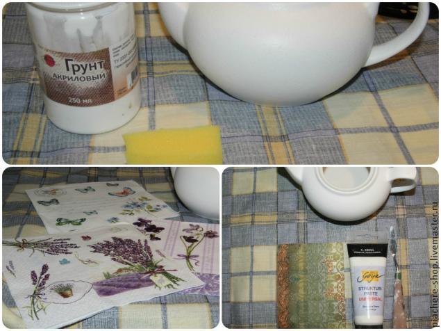 декупаж, керамический чайник