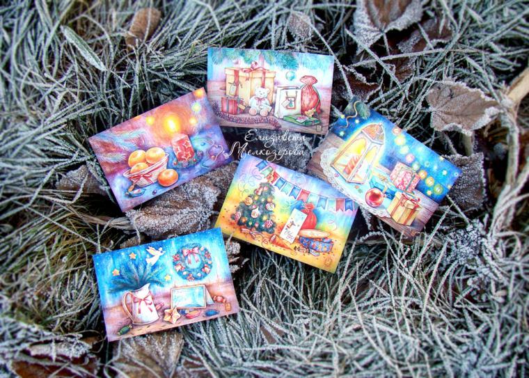 открытки, елочные украшения