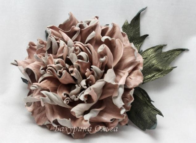 цветы из кожи, кожа, мастер-класс, пион, кожаный пион
