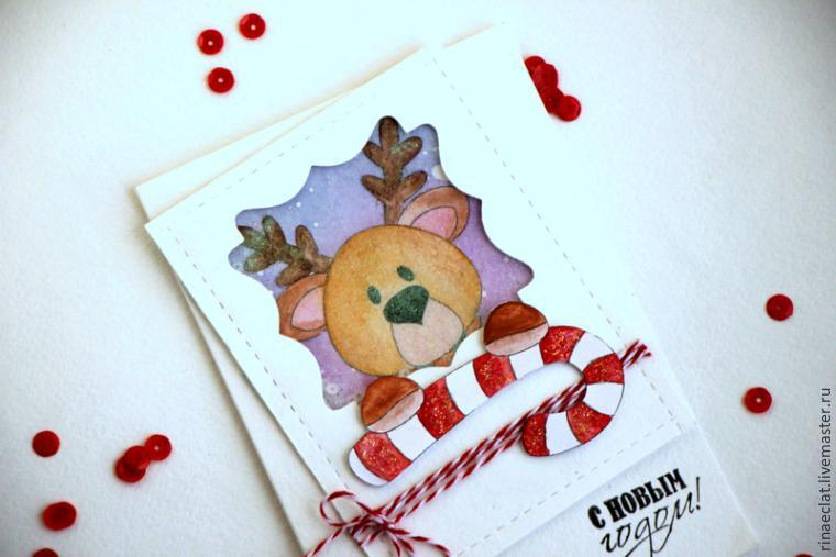 Акварельные новогодние открытки ручной работы