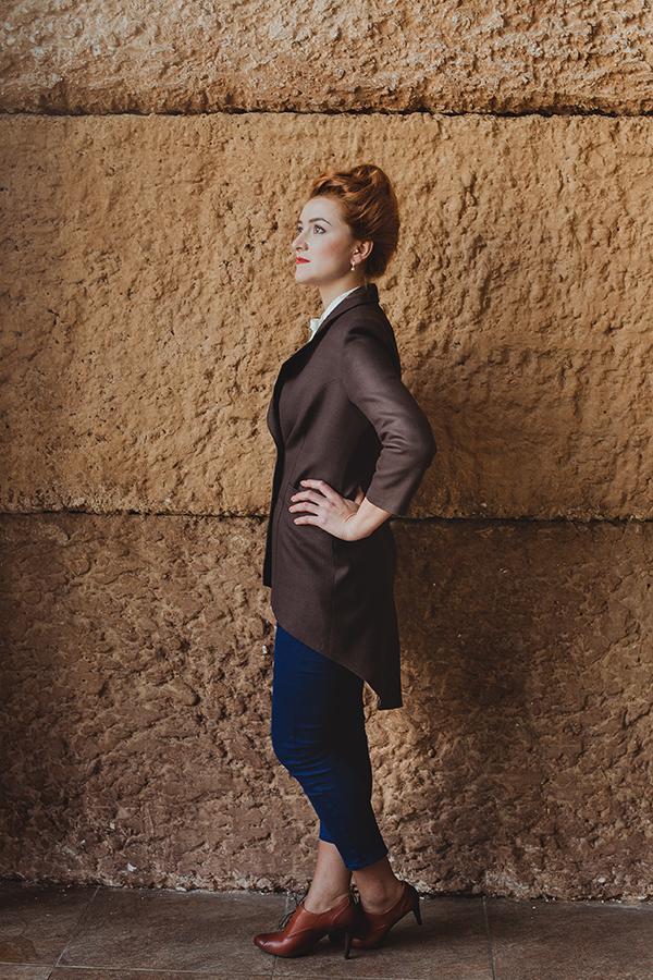 повседневная одежда, шерстяной пиджак, коричневый, приталенный силуэт, рукав три четверти