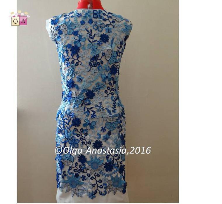голубой, платье ирландия, ирландское кружево