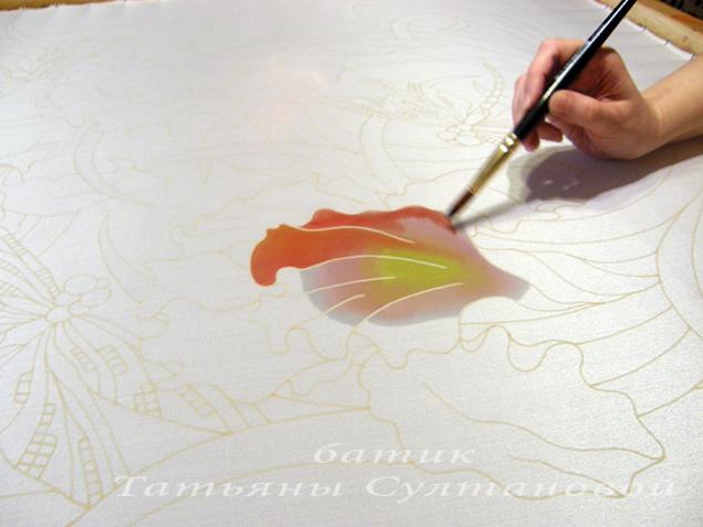 Роспись платка мастер класс