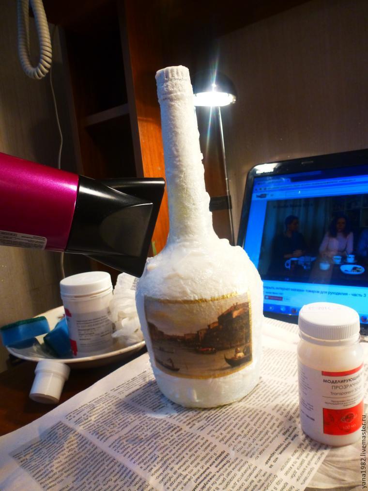 Делаем праздничную бутылочку с двусторонним декупажем, фото № 11