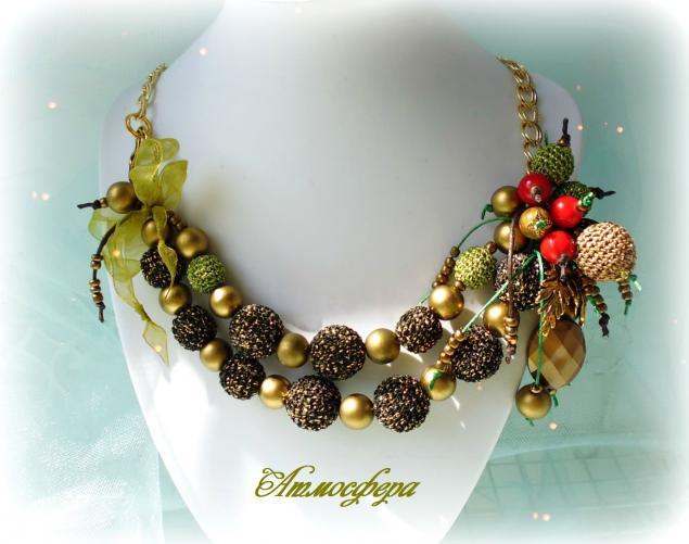 ягодная россыпь, украшение с ягодками, наталья мальцева, атмосфера творчества, авторское украшение