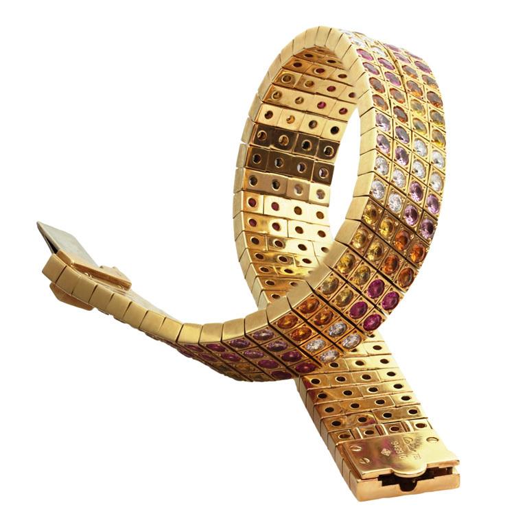 CARTIER многоцветный Сапфир Аметист браслет золото Diamond