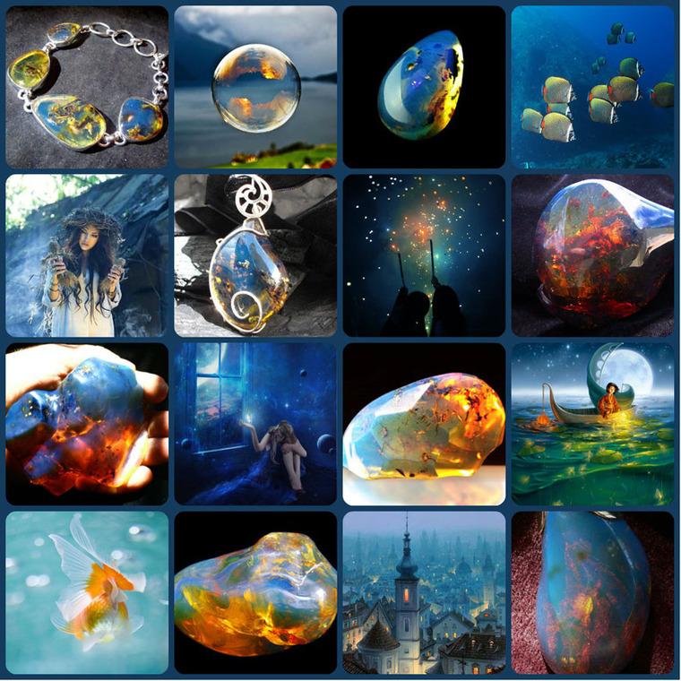 янтарь, синий янтарь, доминиканский янтарь, коллаж, натуральные камни, поделочные камни, фантазия